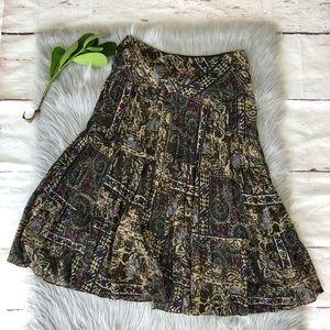 Chaps Boho Brown Paisley Print Skirt M